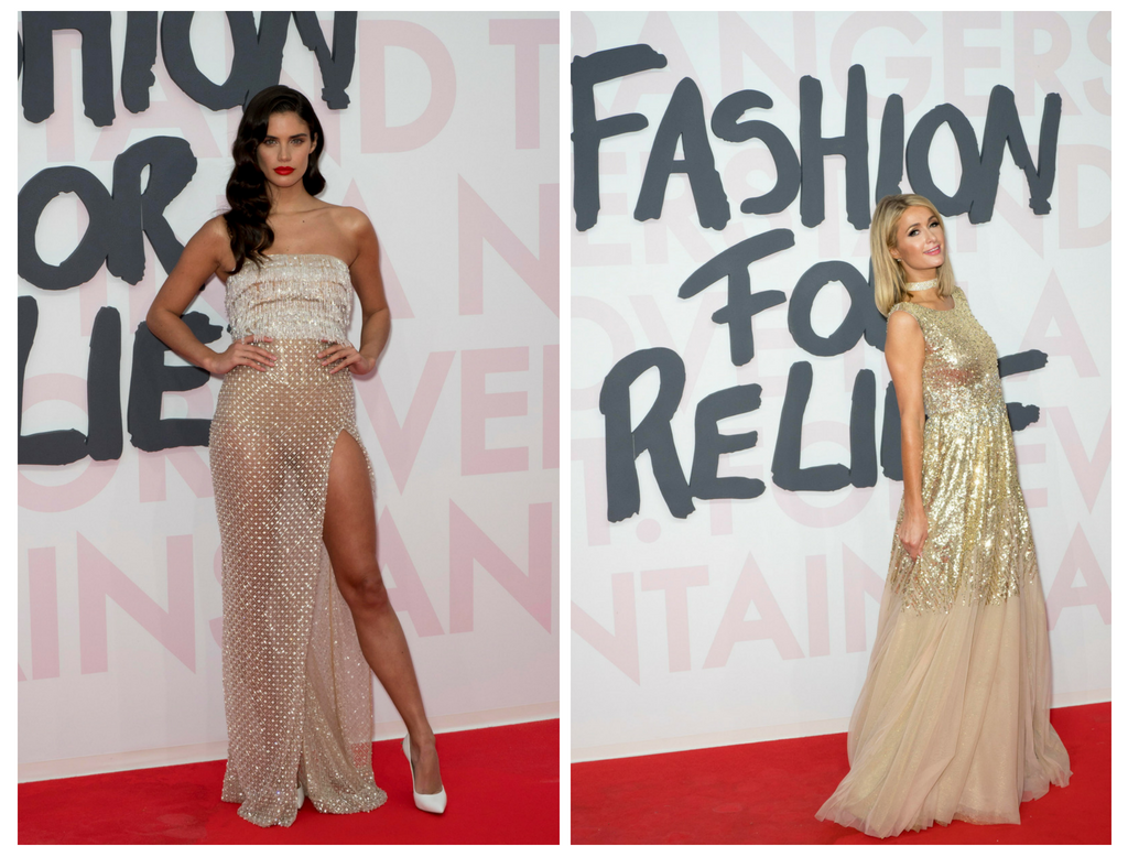 La supermodelo Sara Sampaio y la empresaria Paris Hilton impactaron con sus looks en la red carpet del FAshion For Relief