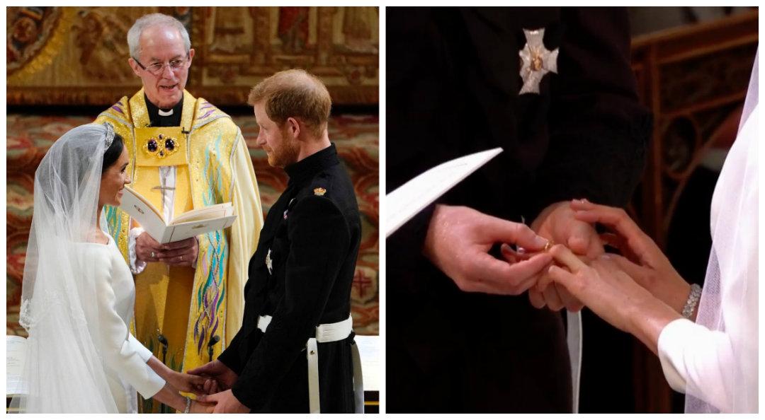 El momento del intercambio de votos y cuando el príncipe le impuso el anillo a Meghan, fueron los más tiernos de la ceremonia