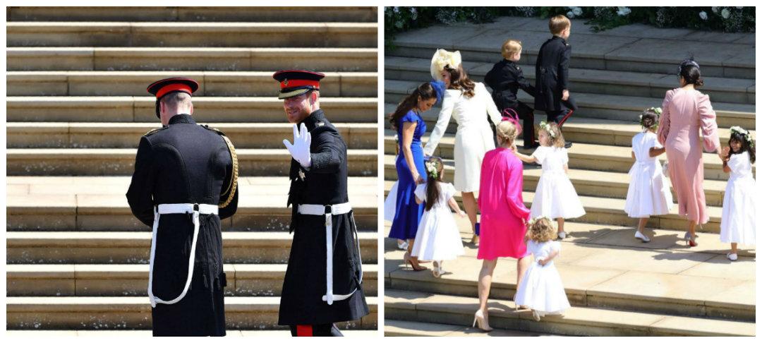 El novio llegó a la iglesia junto a su hermano, quien fue su padrino de bodas. Las damas de honor hicieron su entrada al lado de la duquesa de Cambridge