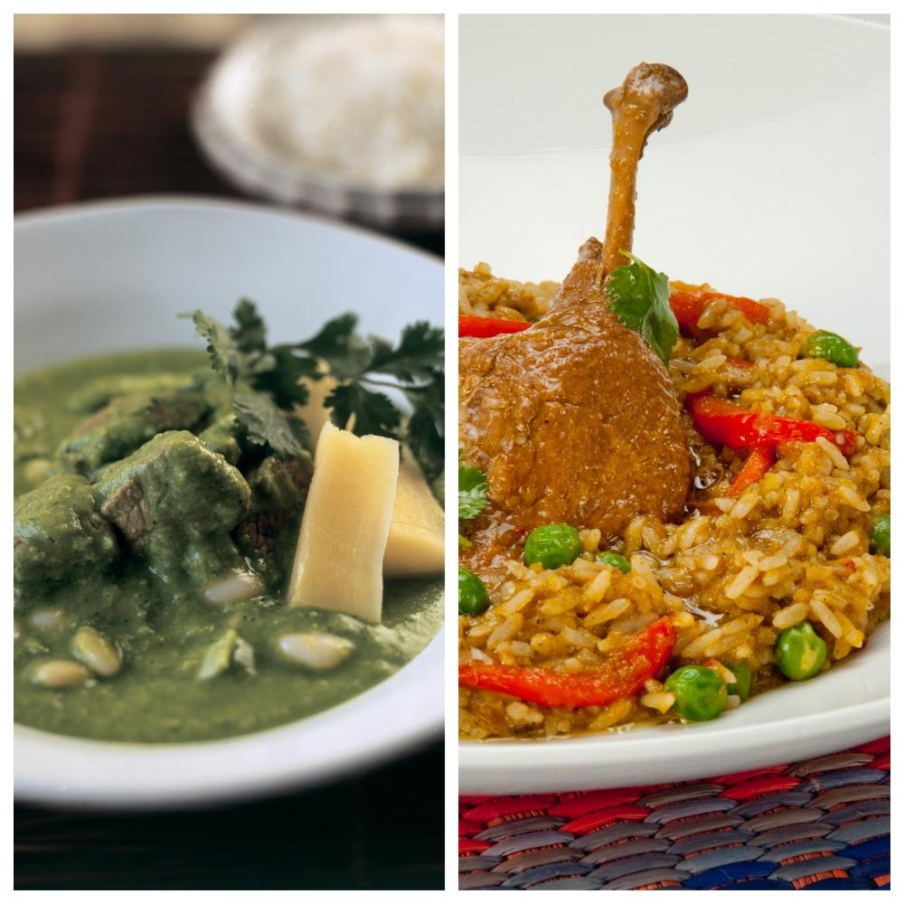 Espesado de choclo con pecho y arroz con pato