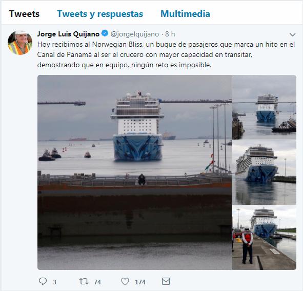 El administrador de la ACP, Jorge Luis Quijano, señaló en su cuenta de Twitter que el evento representaba un hito para el Canal de Panamá