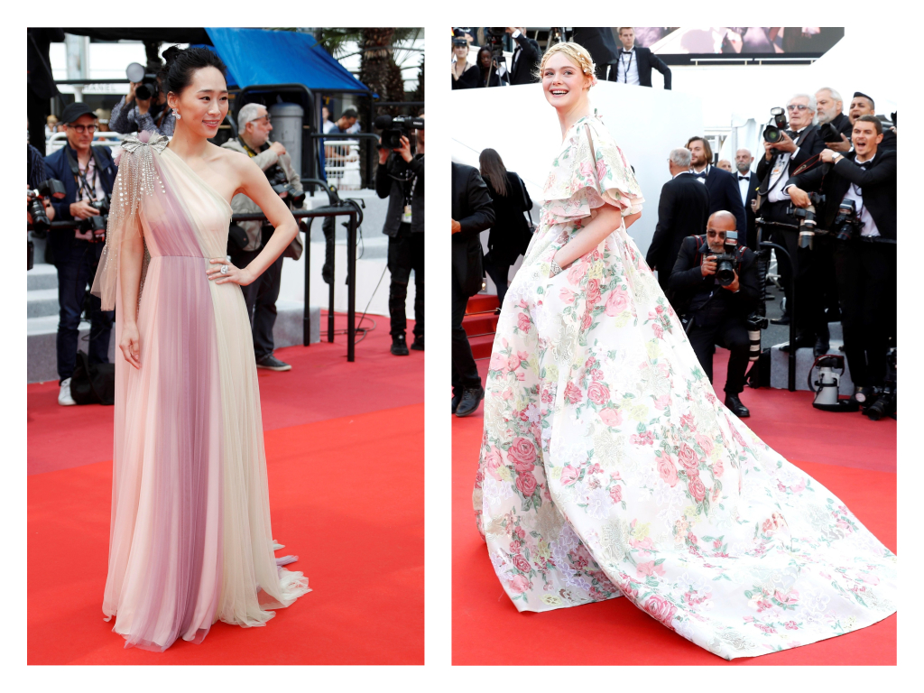 La actriz Wu Ke Xi, en un traje vaporoso  'one sholuder', y Elle Fanning en un vestido estampado de Valentino.